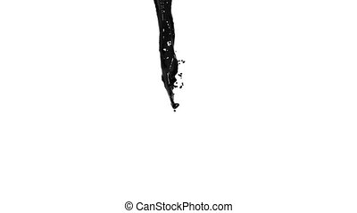 black liquid stream on white background.