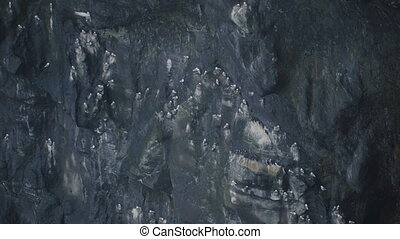 Close-up view of black volcanic mountain cliff, in Iceland....
