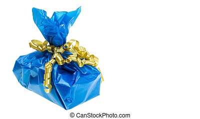 Close up view of blue present box isolated on white background. Holidays concept.