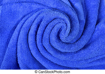 Close up view of blue towel