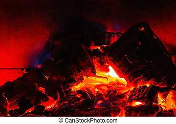 Close Up View Of Burning Coal From Burning Wood In Fireplace