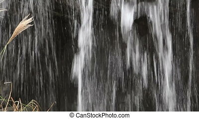 Close up view of cascading water under waterfall