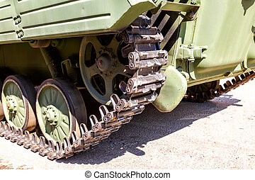 Close up view of caterpillar of the armored vehicle