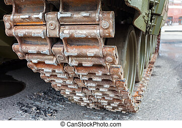 Close up view of caterpillar of the Russian armored tank