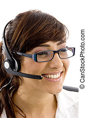 close up view of cheerful female customer care executive