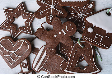Close up view of christmas cookies