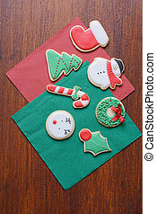 Close up view of Christmas cookies on wooden table