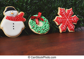 Close up view of Christmas cookies with festive decoration