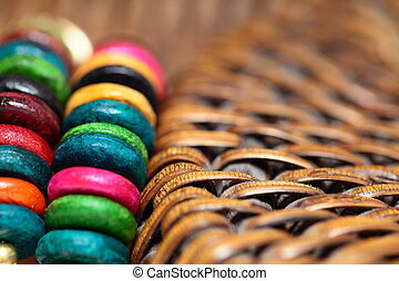 Close up view of colorful bracelet