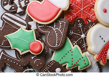 Close up view of colorful christmas cookies