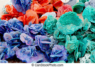 Close up view of colorful desert roses of the Sahara desert