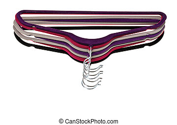 Close up view of colorful hangers isolated on white background.