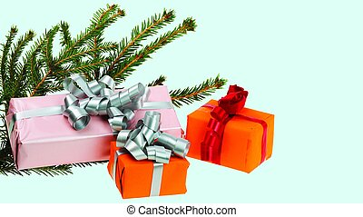 Close up view of colorful present boxes isolated on blue background. Holidays concept.
