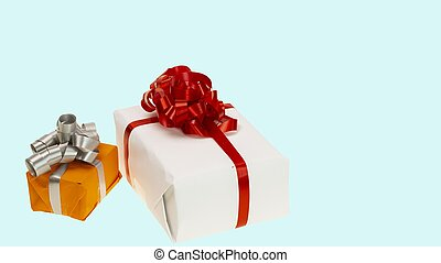 Close up view of colorful present boxes on blue background. Christmas and New Year holidays concept background.