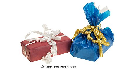 Close up view of colorful present boxes on white background. Holidays concept.