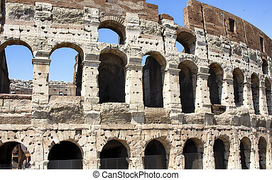 Close up view of Colosseum in Rome