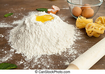 Close up view of cooking dough.