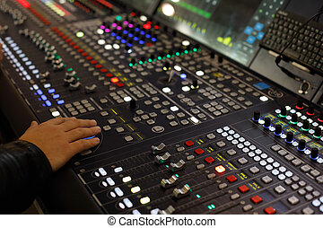 digital audio production console - Close up view of digital ...
