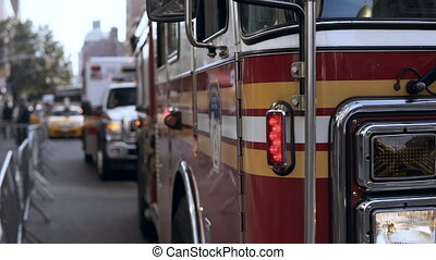 Close-up view of emergency service cars standing on the...
