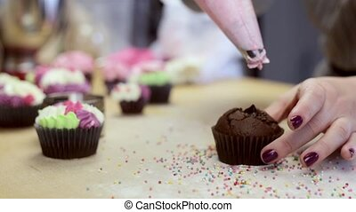 Close-up view of female hands decorating the chocolate cupcake or muffin with pink cream from pastry bag.
