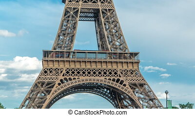 Close up view of first section of the Eiffel Tower timelapse in Paris, France.
