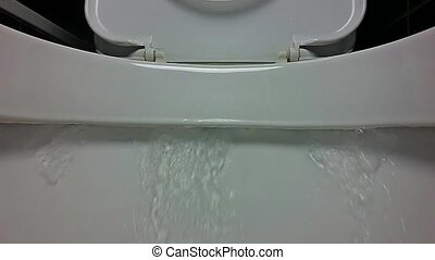 Close-up View of Flushing a Toilet in Slow Motion. HD Video Clip