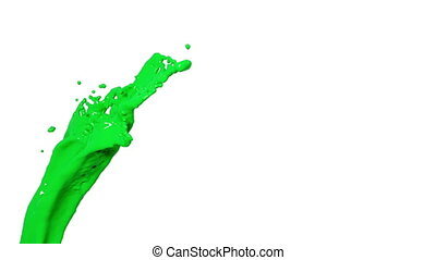 flying green liquid flow in slow motion