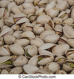 close-up view of Fresh pistachios