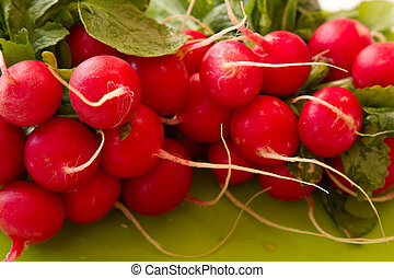 Close up view of fresh red radishes
