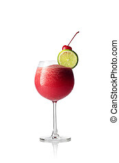 close up view of fresh yummy drink on white  back
