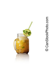 close up view of fresh yummy drink onwhite  back
