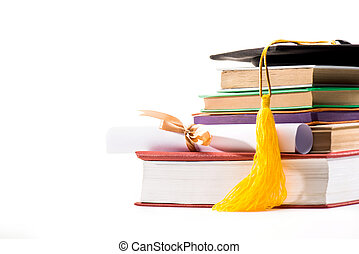 Close-up view of graduation mortarboard, books and diploma on white background, education concept