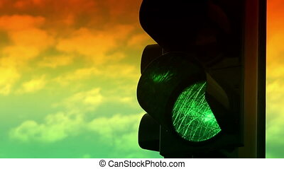 Close up view of green and yellow colors on the traffic light