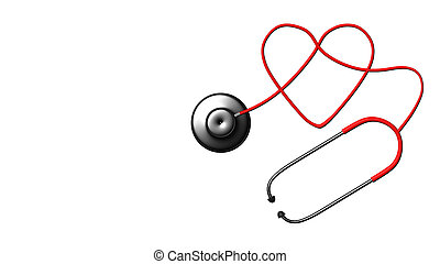 Close up view of grey stethoscope on white back for adv or...