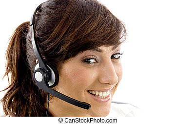close up view of happy female customer care executive