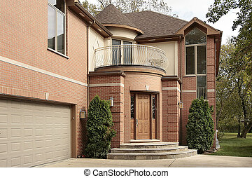 Close up view of home - Close up view of brick home and...