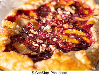 Close Up View of Homemade Plum Cake. Galette with Sugar.