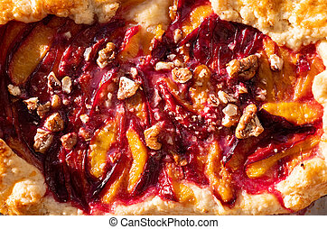Close Up View of Homemade Plum Cake. Galette with Sugar. Top...