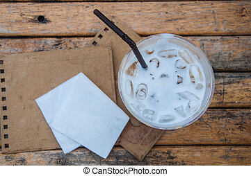 Close up view of ice fresh milk in glass