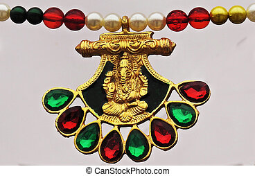 view of Indian woman Jewelry necklace with Hindu God Ganesha locket