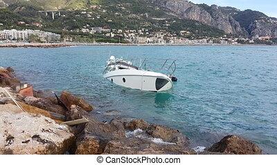 Luxury Yacht Half Sunken After Storm In The Mediterranean...