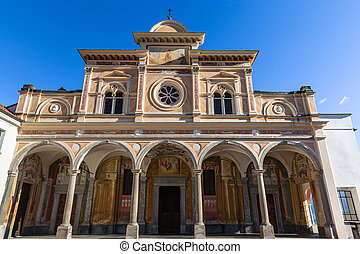 Close up view of Madonna del Sasso church from facade above Locarno city, a sanctuary and pilgrimage church in Orselina, on autumn sunny day with blue sky in background Canton of Ticino, Switzerland