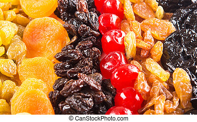 Close Up View Of Mix Dried Fruit - Mix variety of dried...