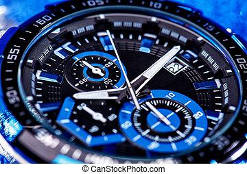 close up view of nice man's wrist watch