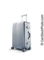 close up view of nice metal wheeled suitcase on white background