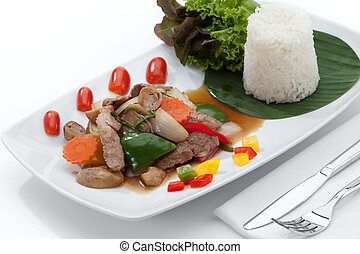 close up view of nice yummy meal on