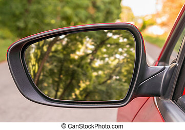 Close-up view of rearview mirror on the car