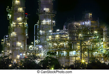 close up view of refinery oil plant in heavy industry estate use