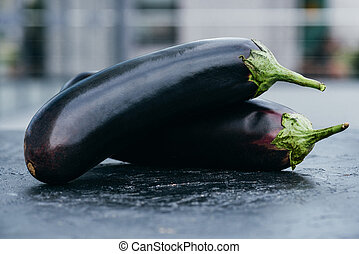eggplants - close-up view of ripe fresh organic eggplants