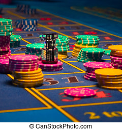 Roulette Gambling chips - Close up view of Roulette Gambling...